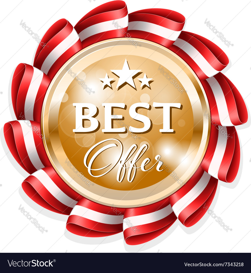 Gold best offer badge with red ribbon vector