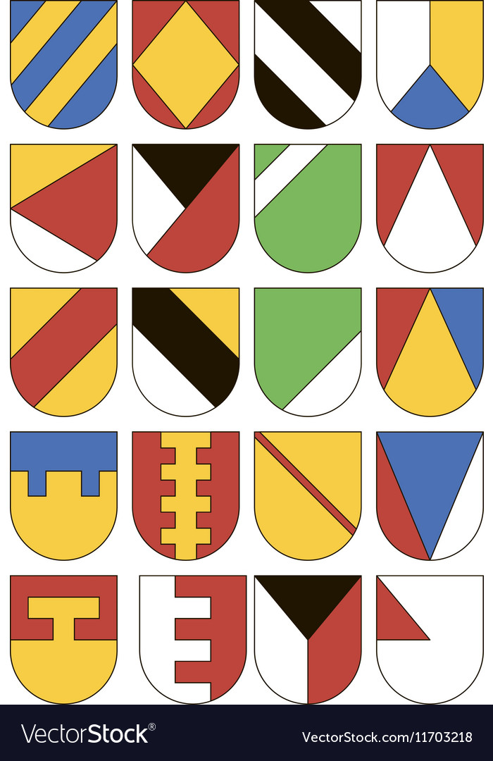 Set of colorful templates for coats of arms vector