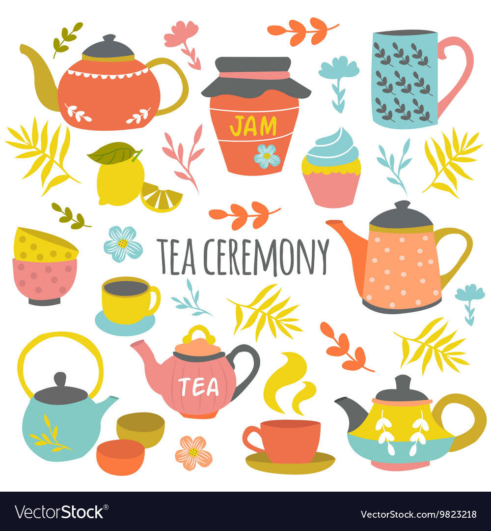 Tea ceremony hand drawn composition vector