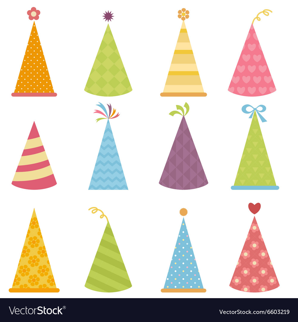 Set of colorful party hats vector
