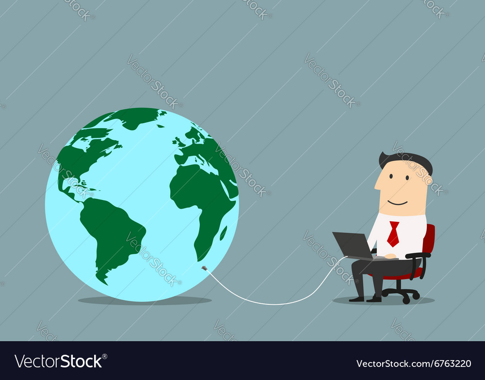 Businessman with laptop connected to a globe vector