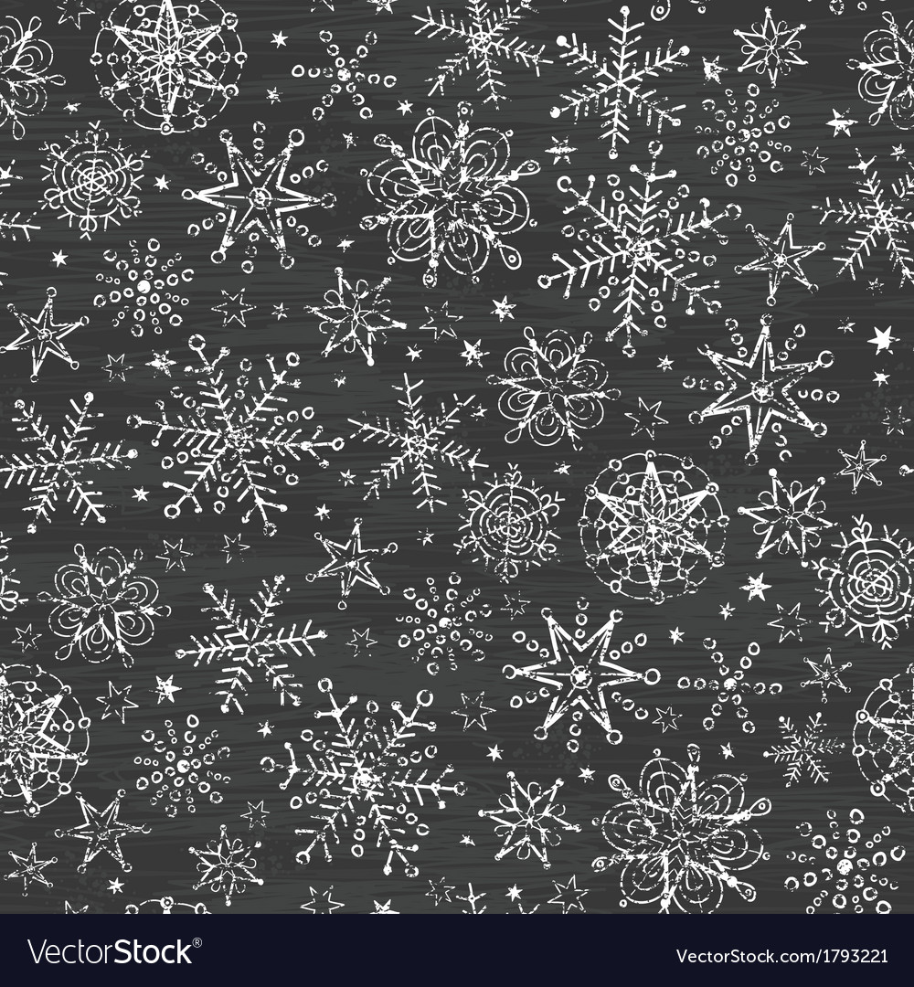 Chalkboard black and white snowflakes seamless vector