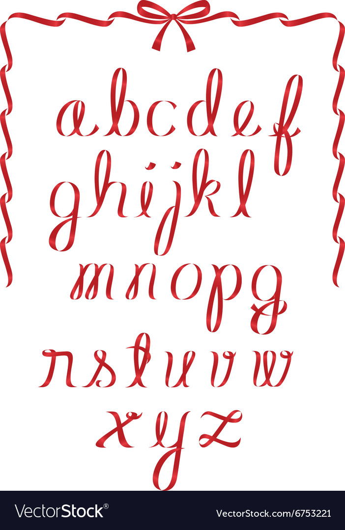 Christmas ribbon minuscules alphabet vector
