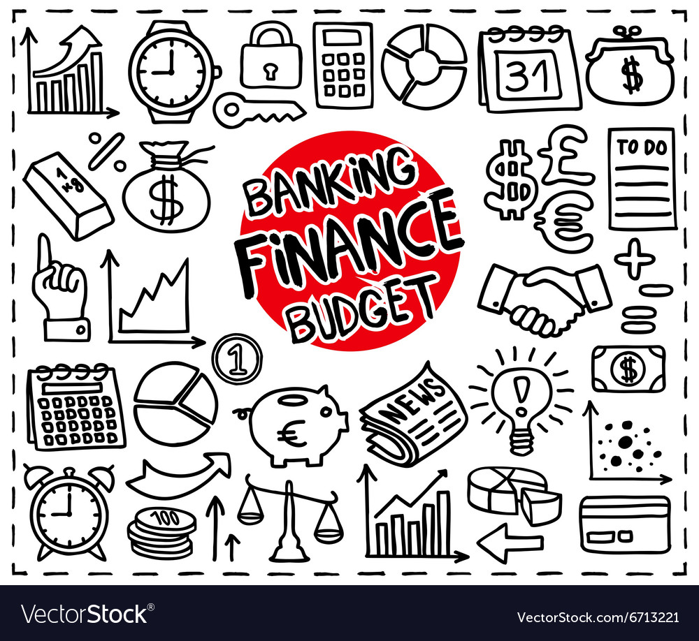 Doodle finance icons vector