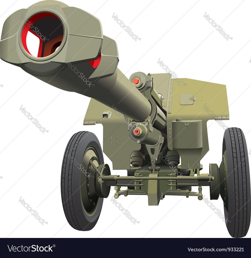 Large old gun vector