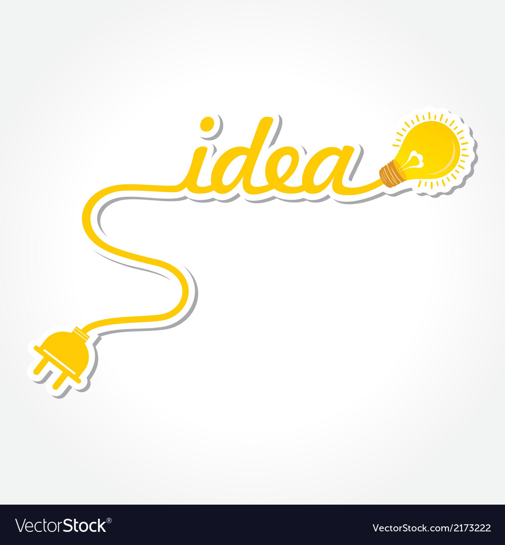 Idea word with lightbulb and electric plug vector