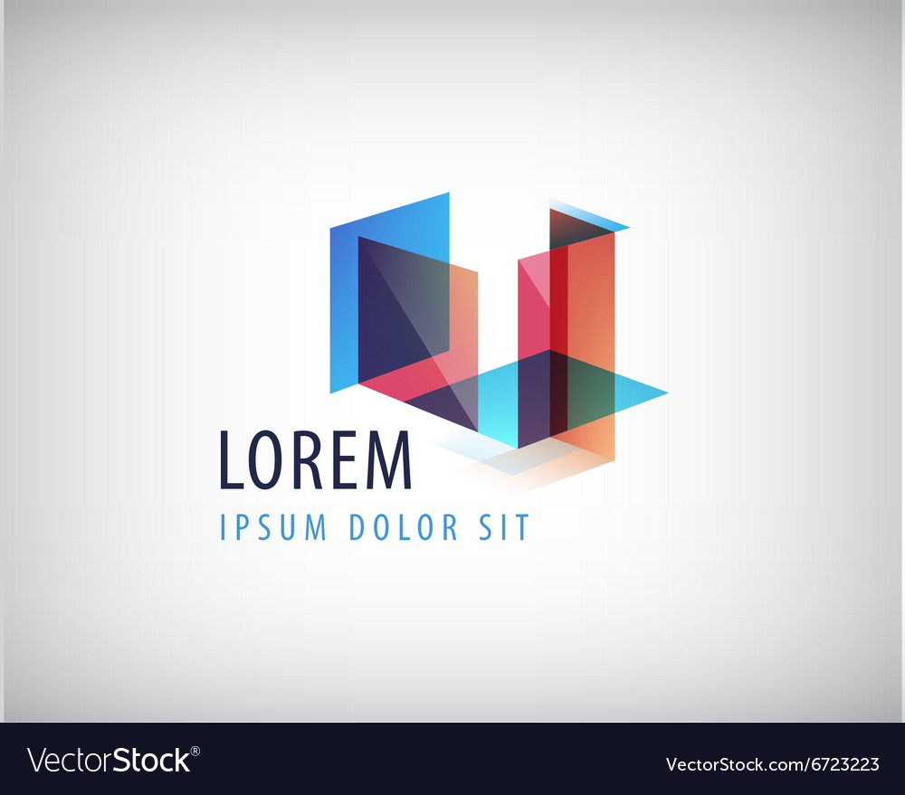 Abstract colorful geometric structure logo vector