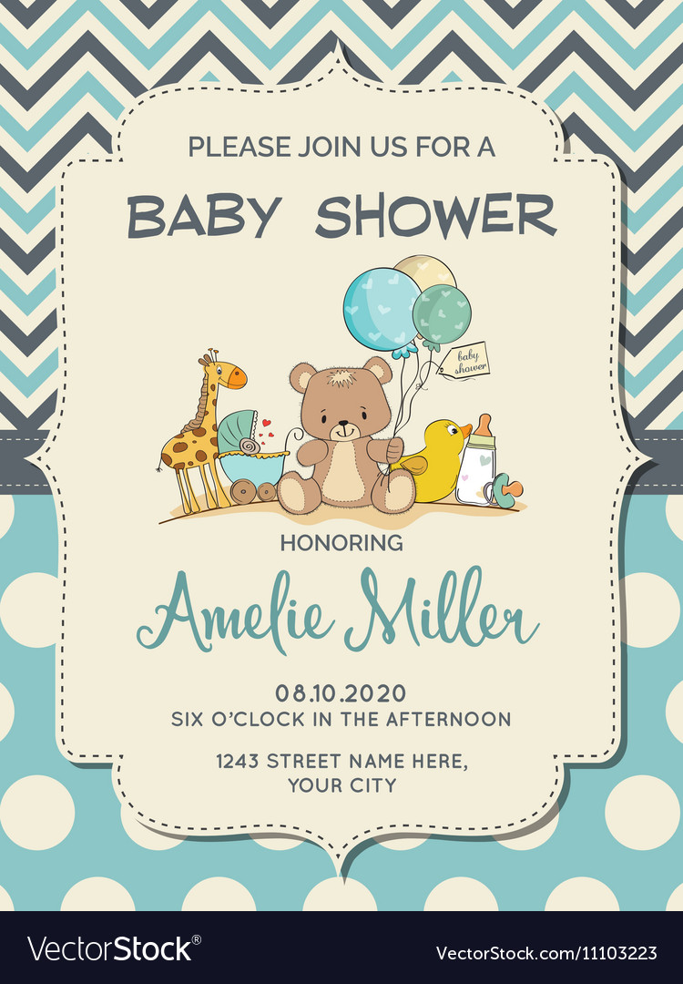 Beautiful baby boy shower card with toys vector
