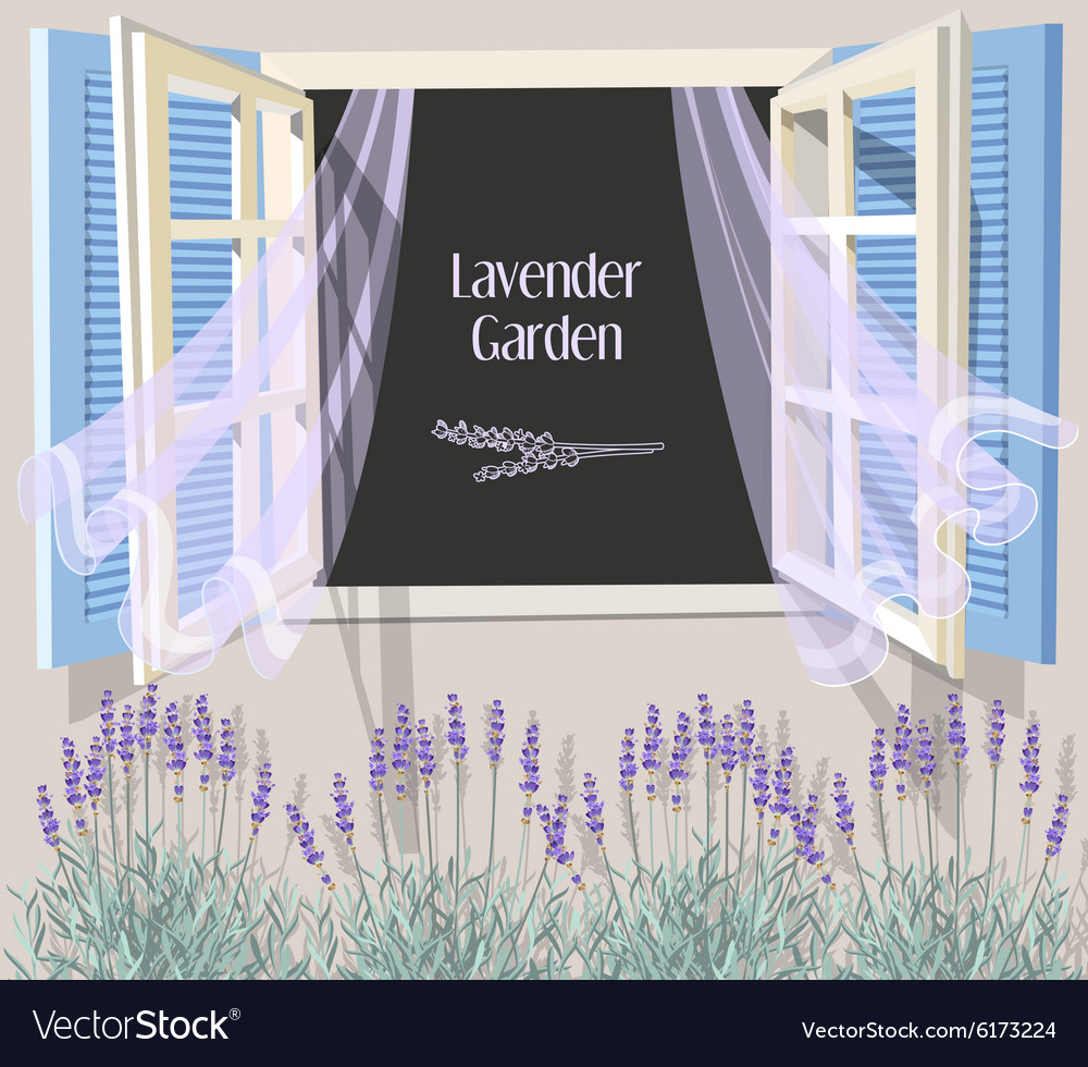 Window with blue shutters vector