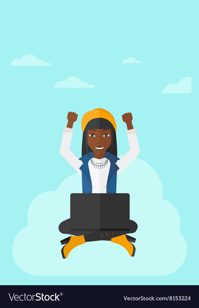 Woman sitting on cloud with laptop vector