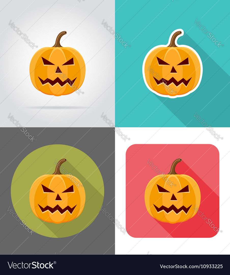 Pumpkins for halloween flat icons 02 vector