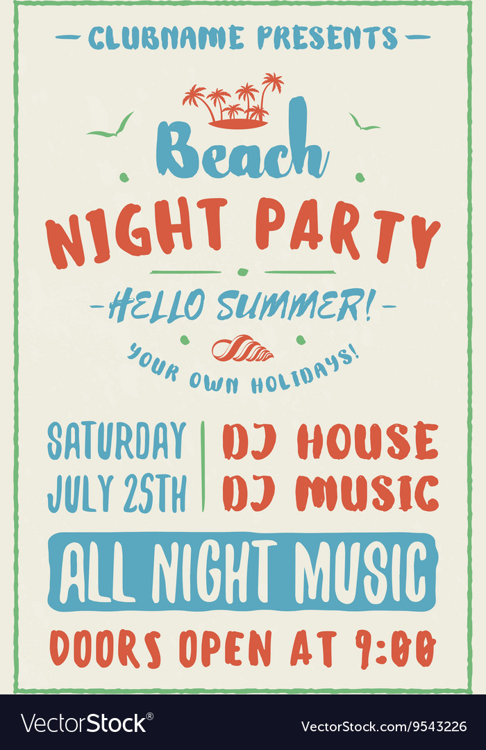 Beach party flyer or poster night club event vector