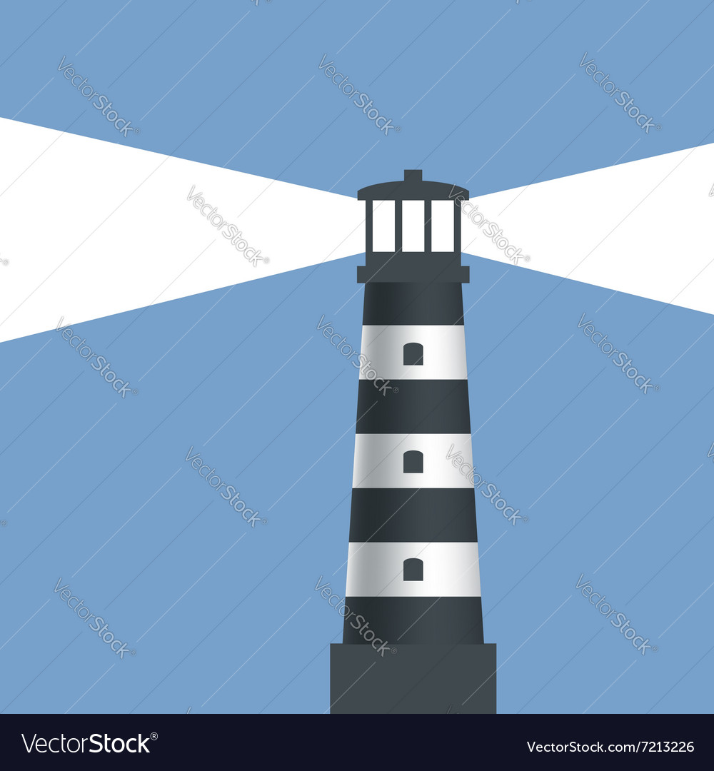 Logo lighthouse with light vector