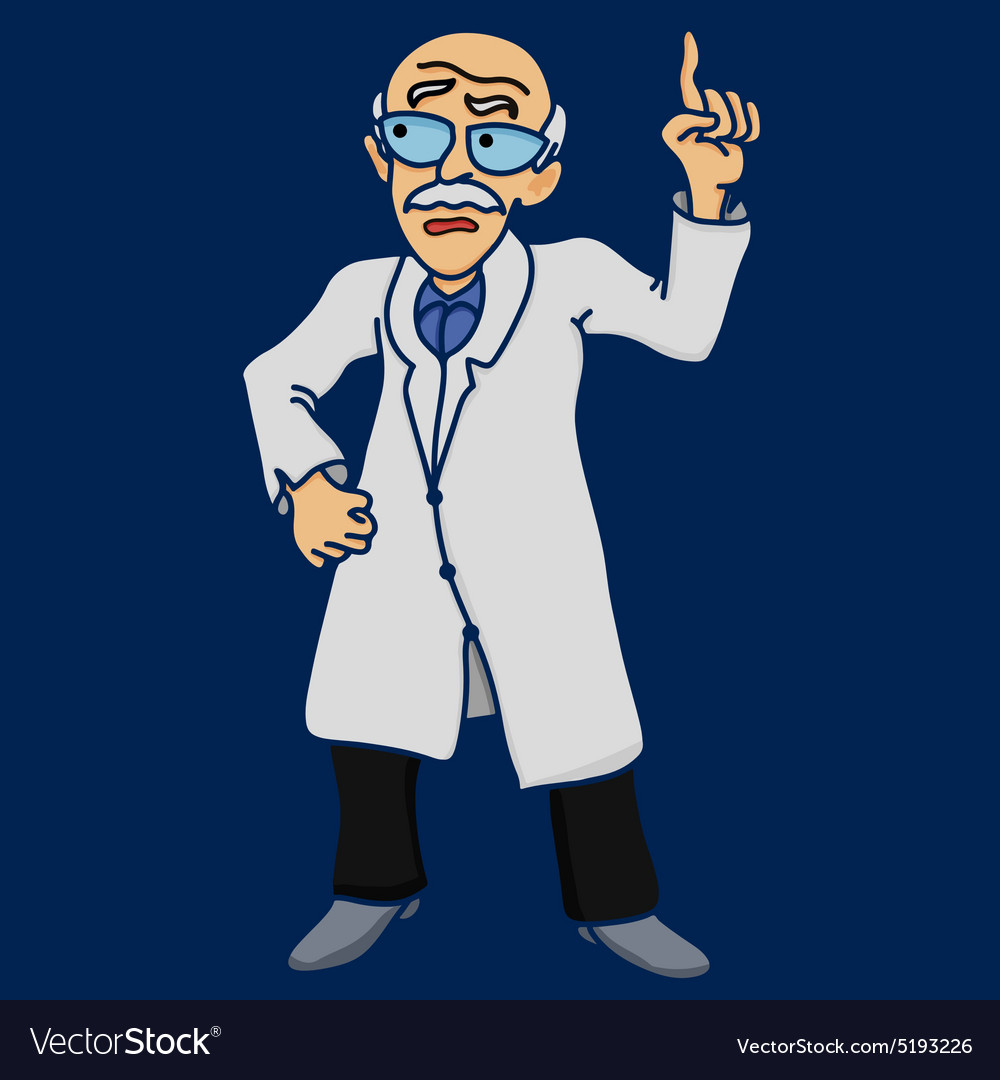 Scientist old man disgruntled comic vector