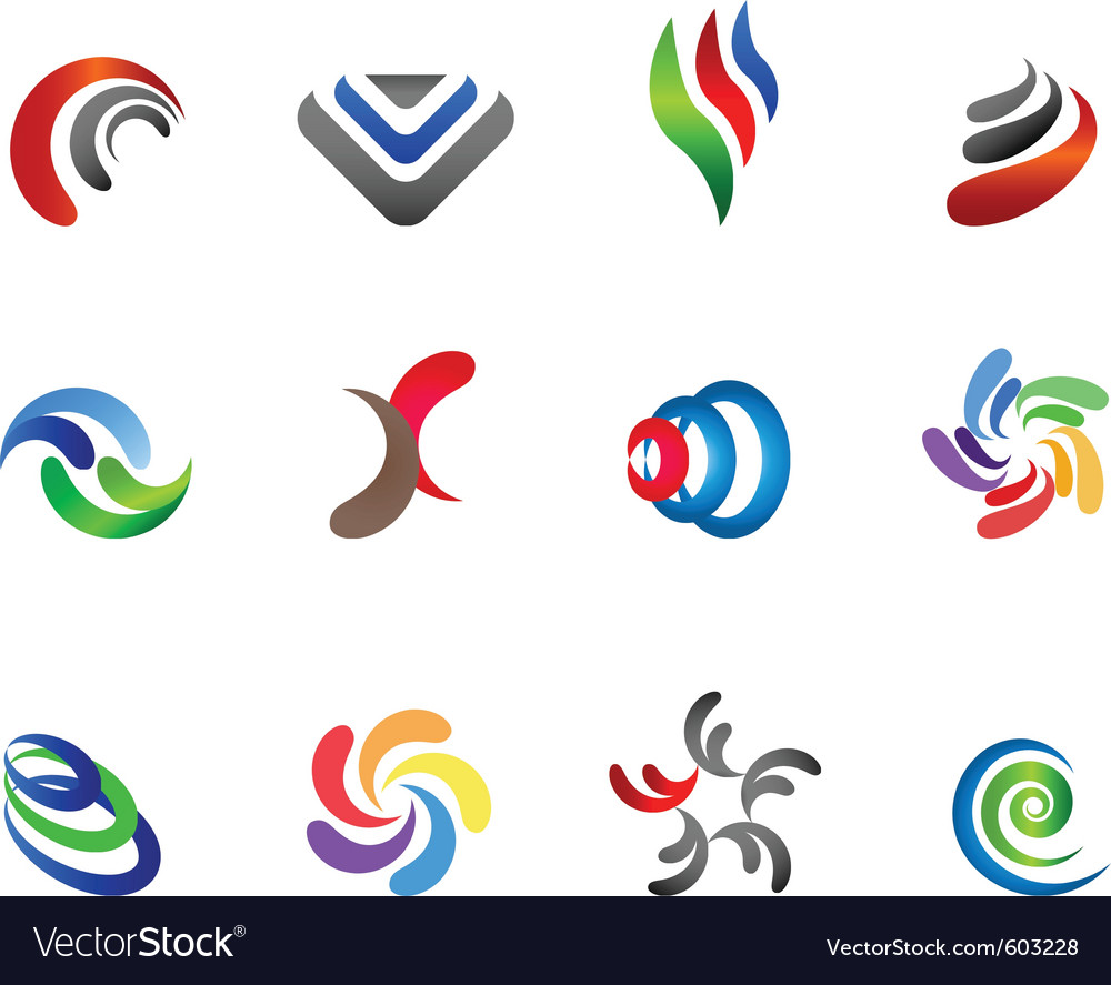 12 colorful symbols set 5 vector