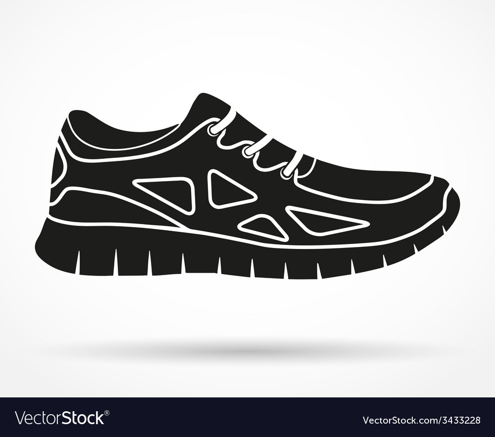 Silhouette symbol of shoes running and fitness vector
