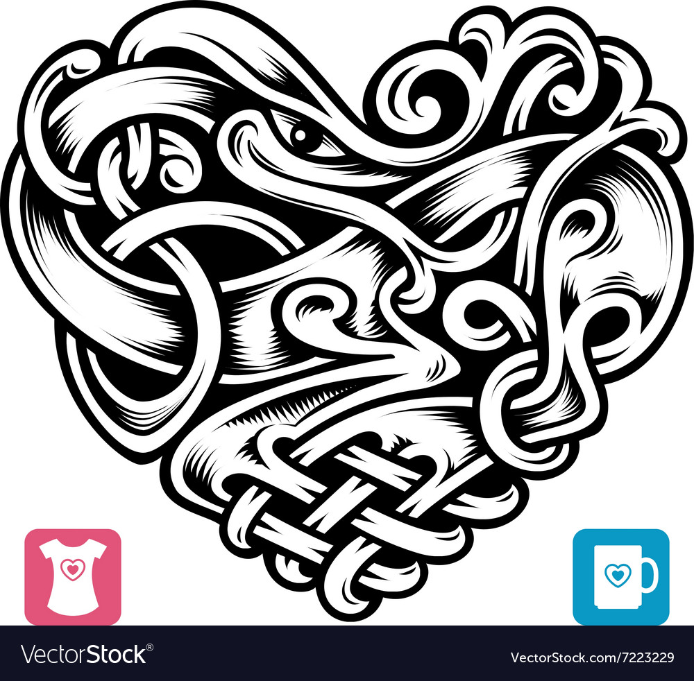 Celtic pattern in the shape of heart vector