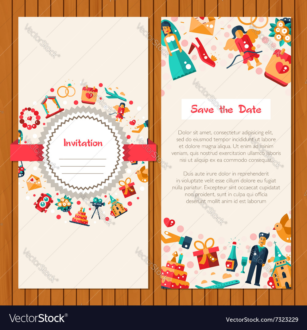 Flat design wedding and marriage invitation card vector