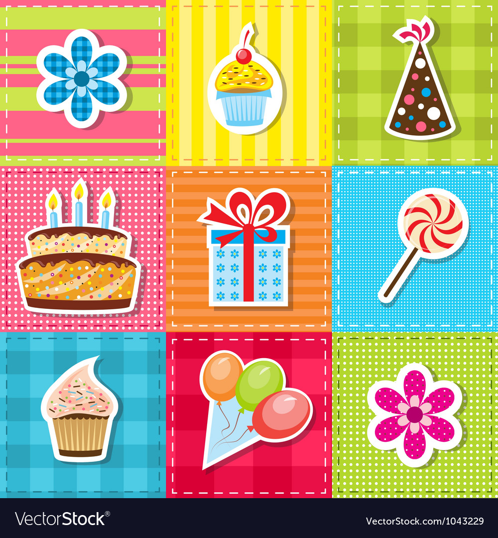 Patchwork with birthday party elements vector