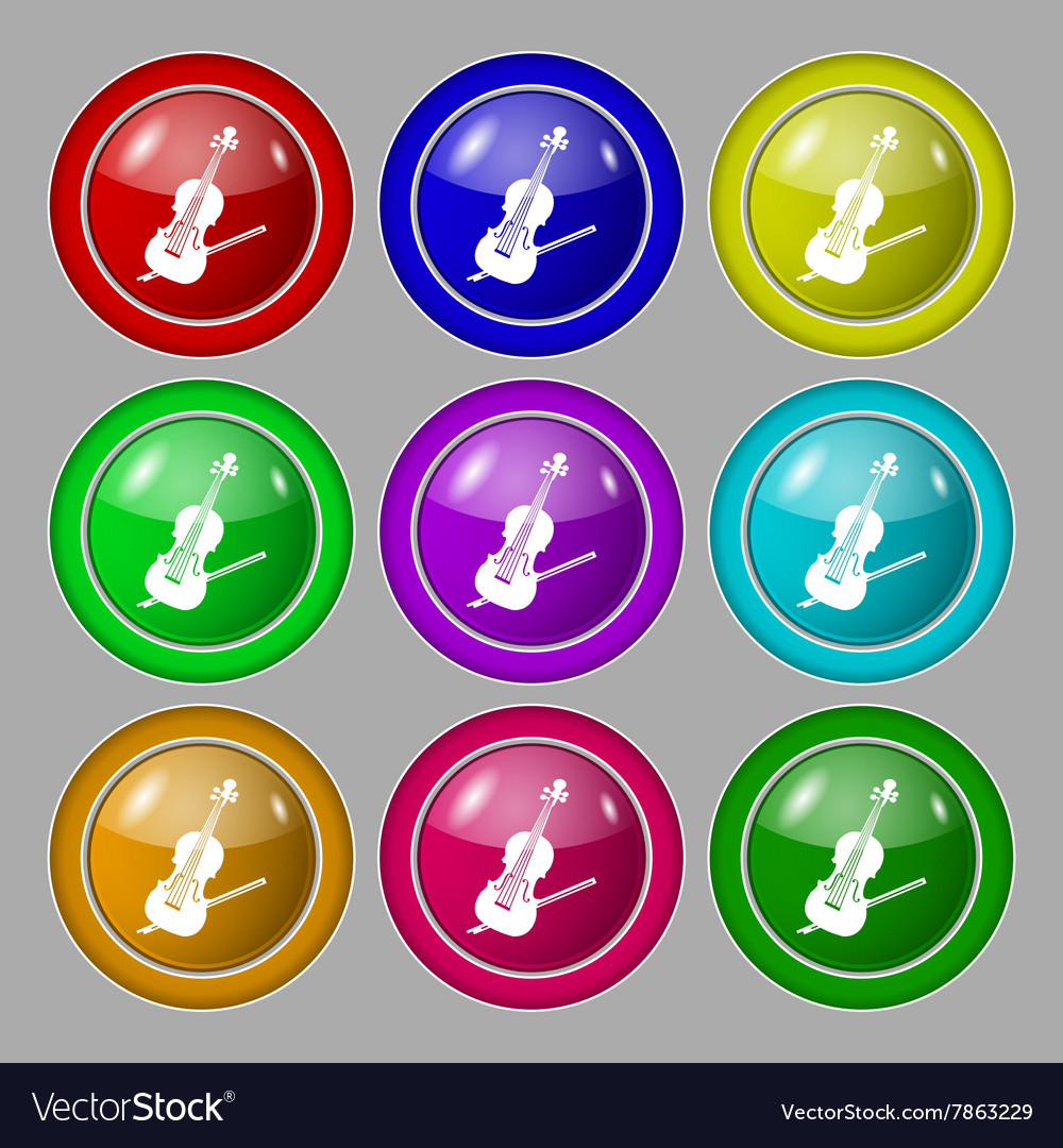 Violin icon sign symbol on nine round colourful vector