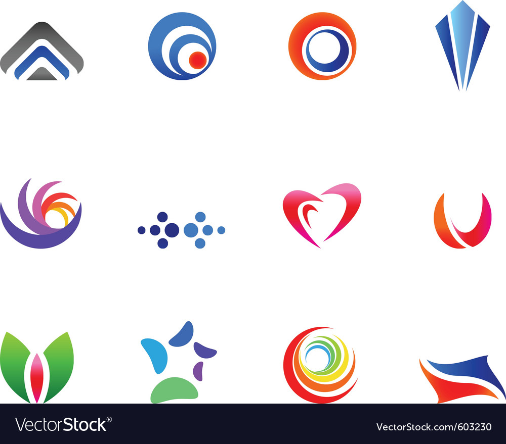 12 colorful symbols set 6 vector