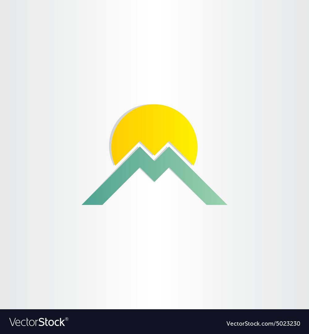 Letter m mountain and sun symbol vector