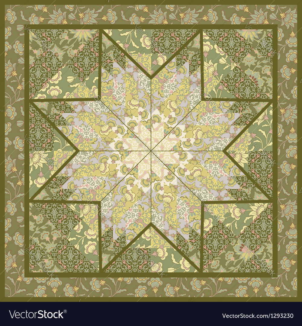 Quilting pattern background design with star motiv vector