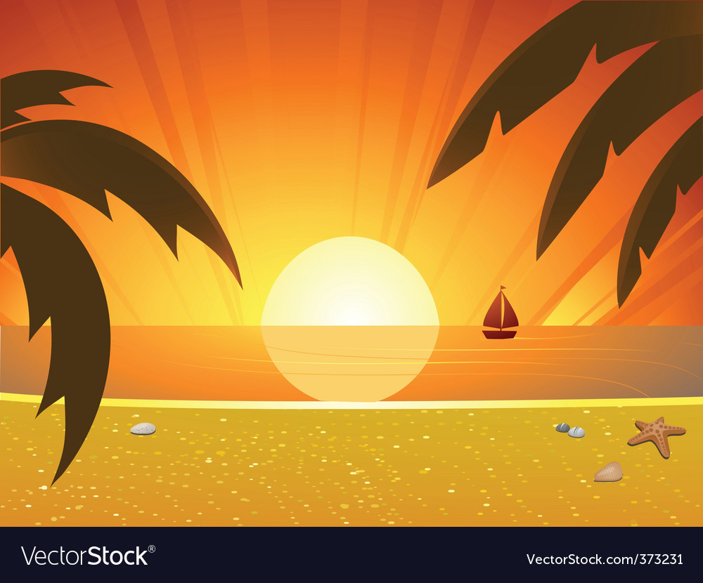 Summer sunset and sail boat vector