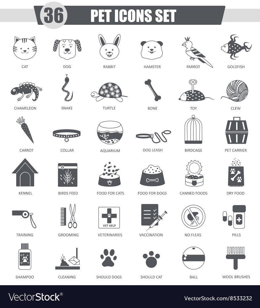 Pet animal black icon set dark grey vector