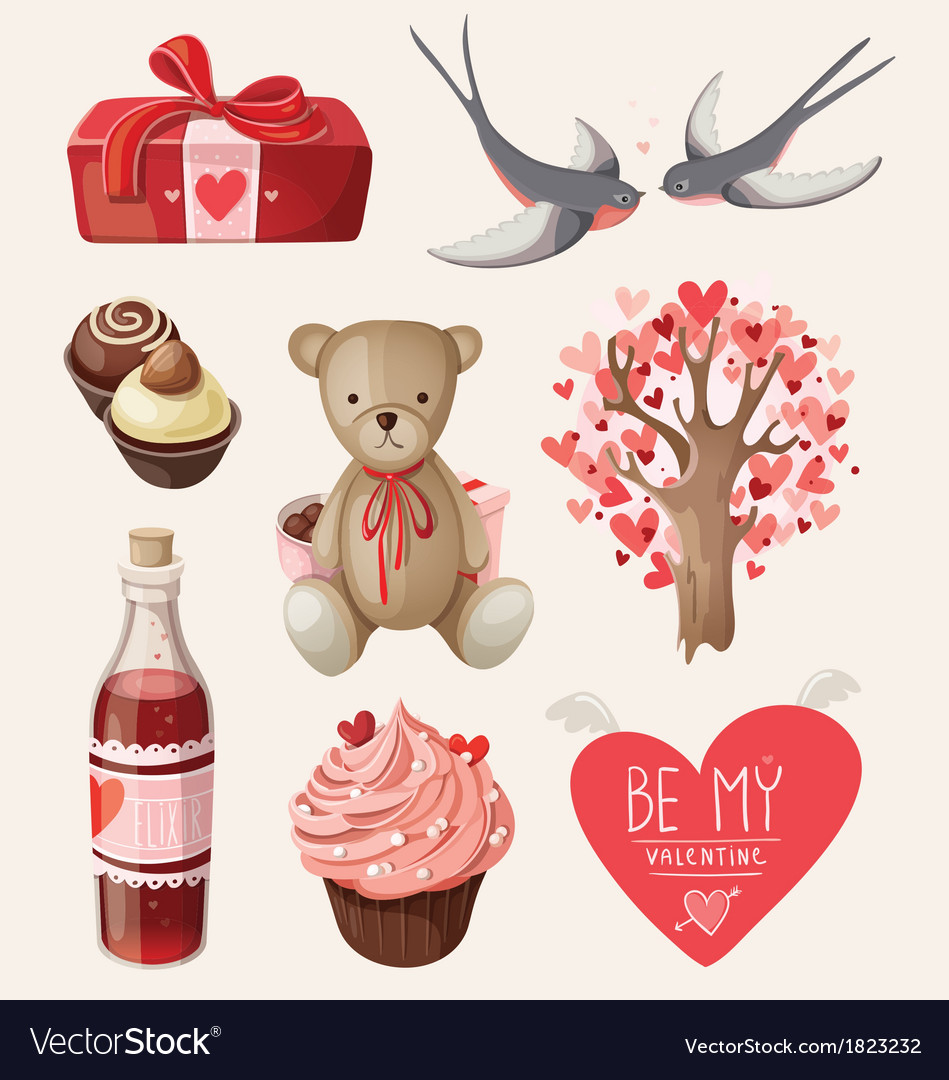 Set of romantic items for valentine day vector