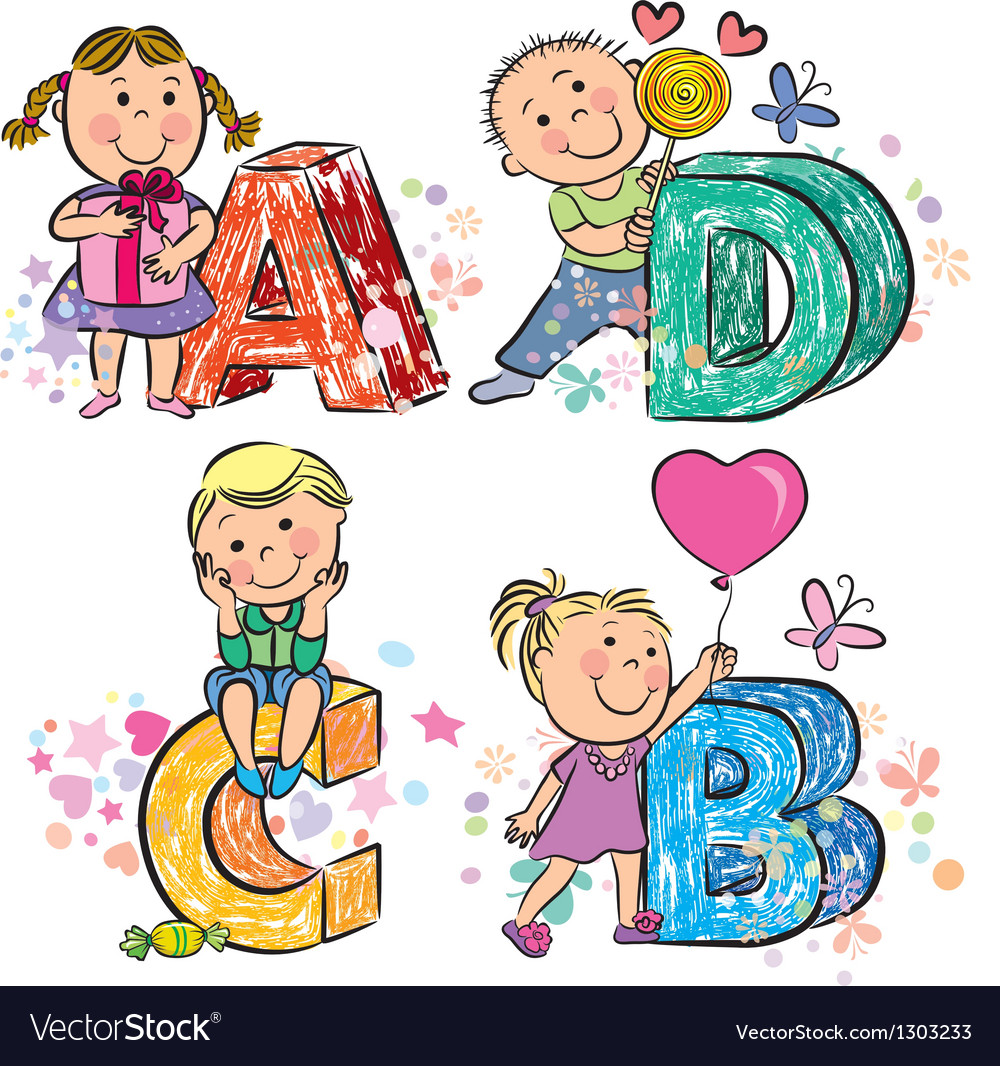 Funny alphabet with kids abcd vector