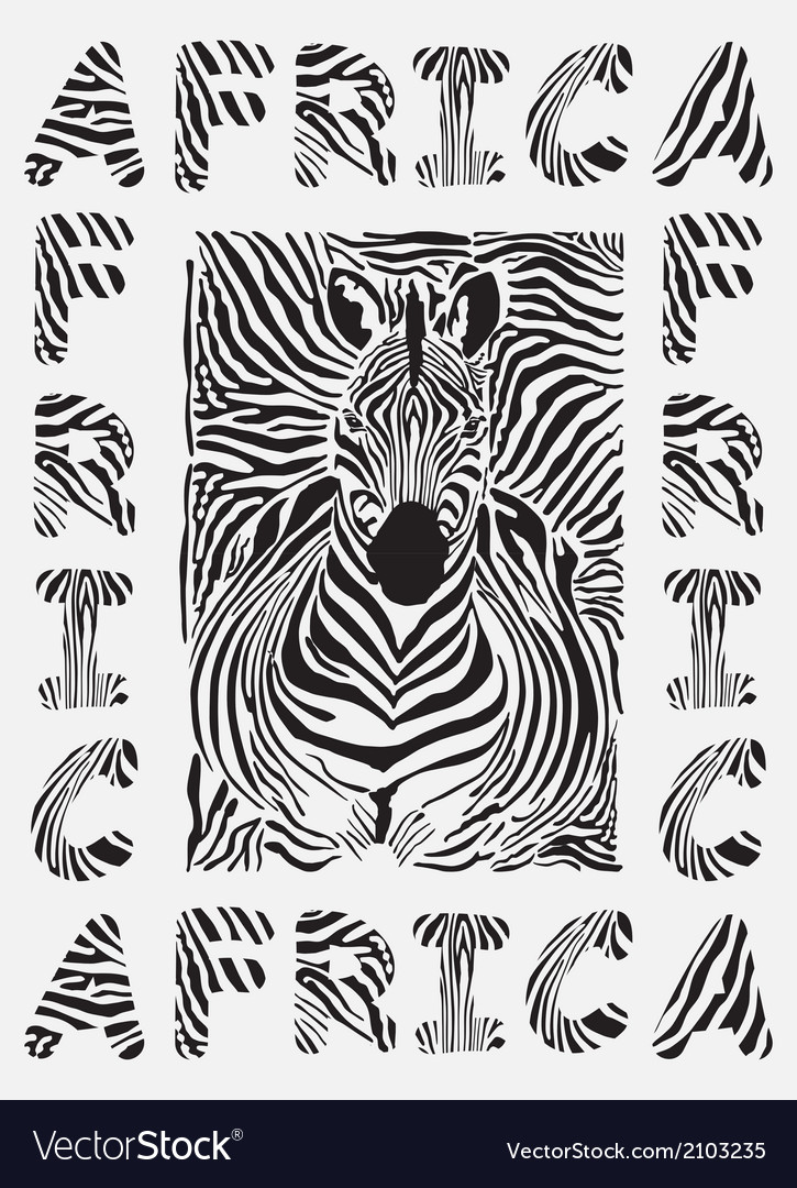 Africa background with text and texture zebras vector