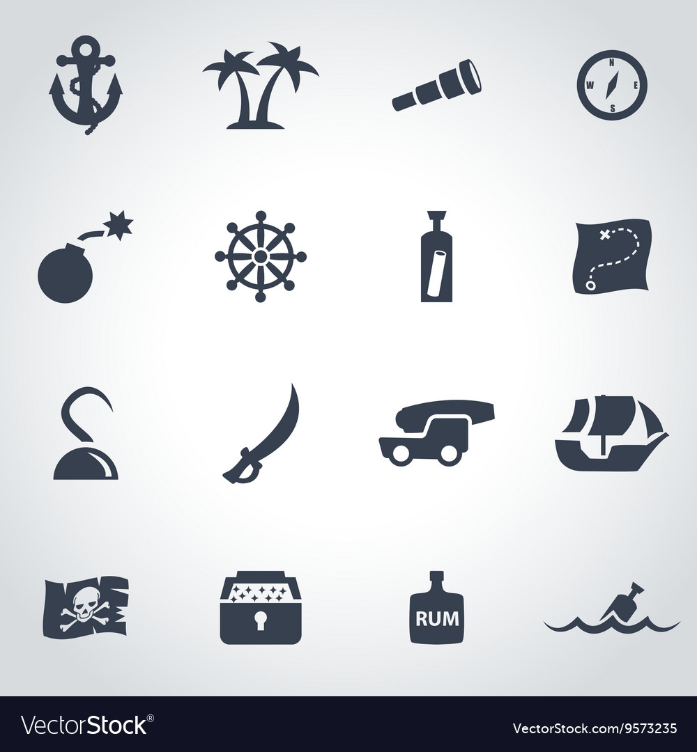 Black pirate chart icon set vector