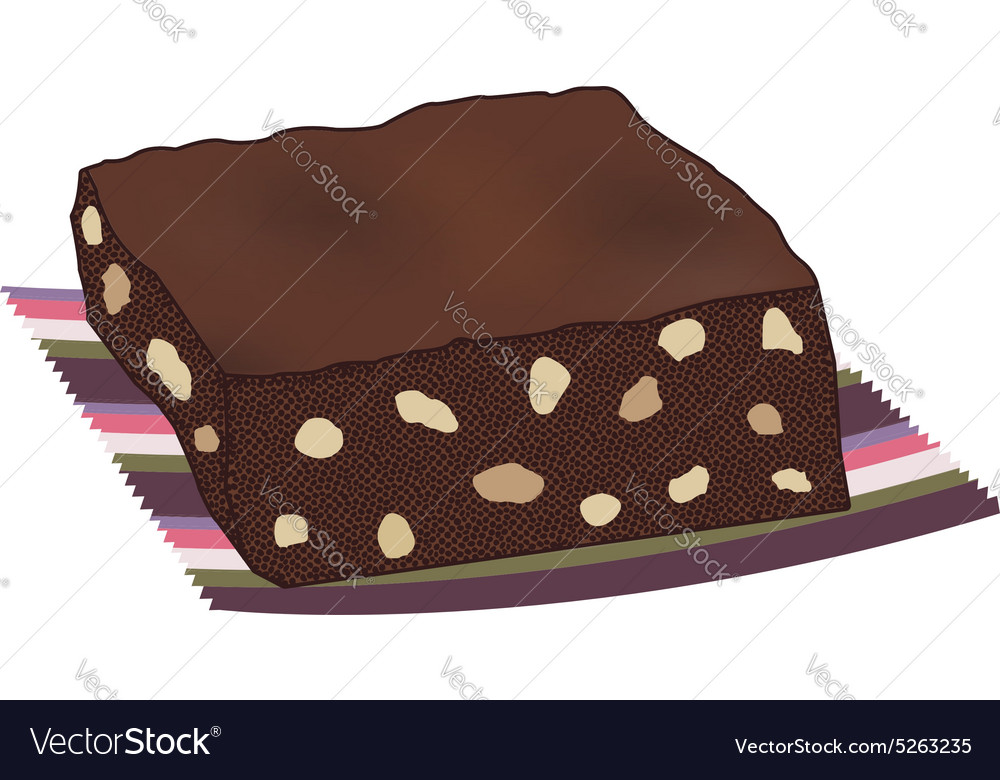 Chocolate brownie cake with nuts vector