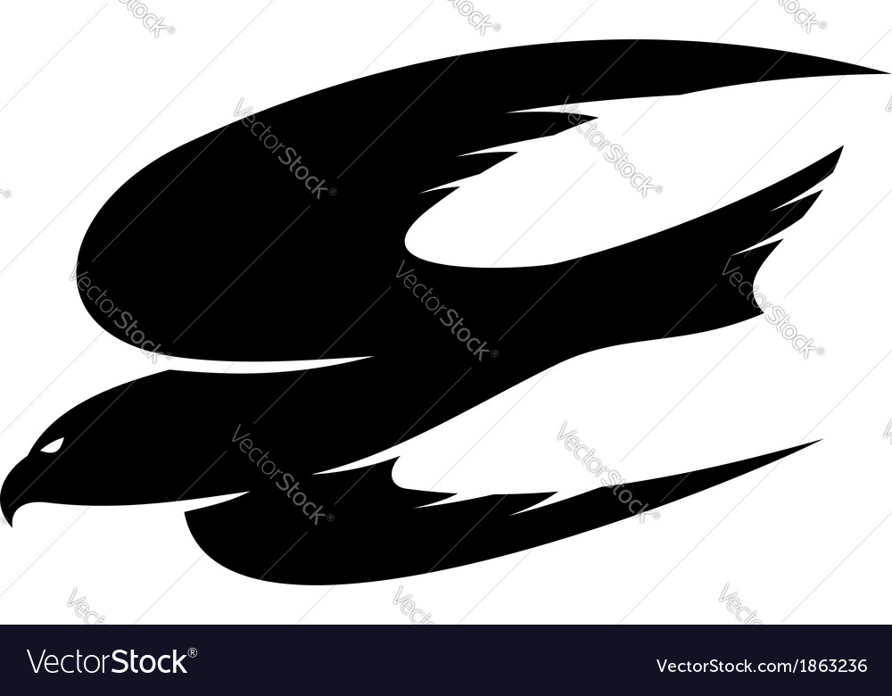 Abstract black of an hawk flying vector