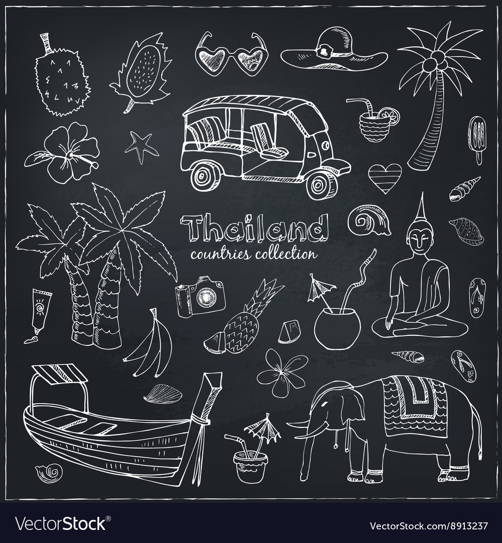 Hand drawn doodle thailand travel set vector