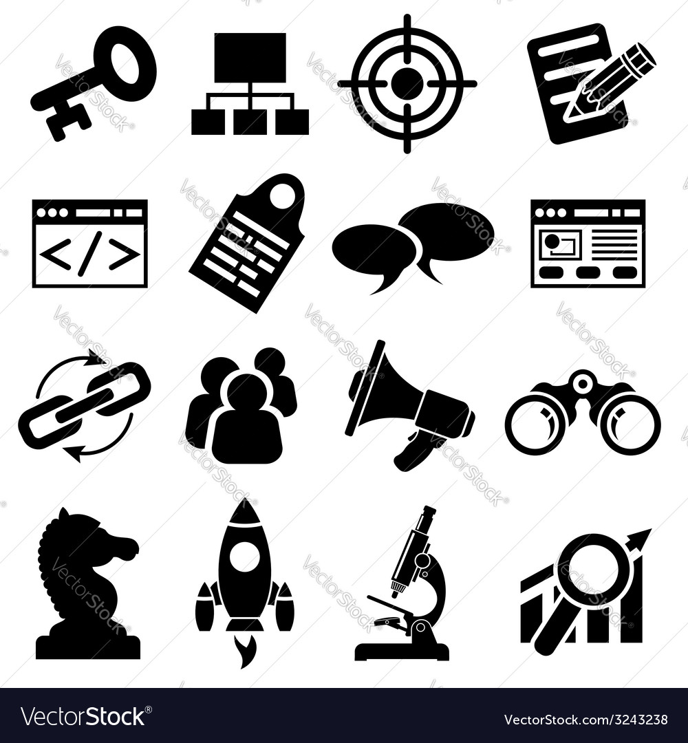 Seo business icon set vector
