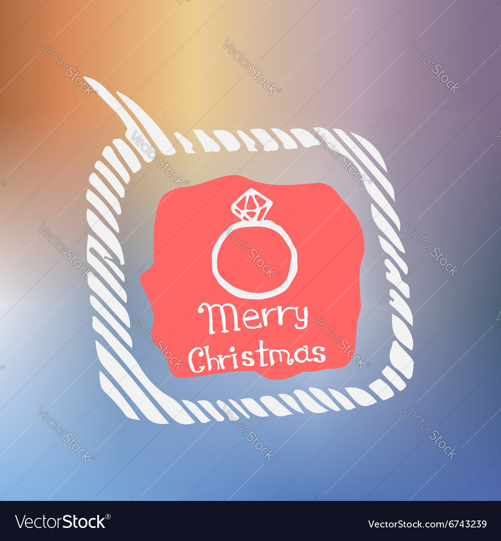 Diamond ring white icon doodle christmas vector