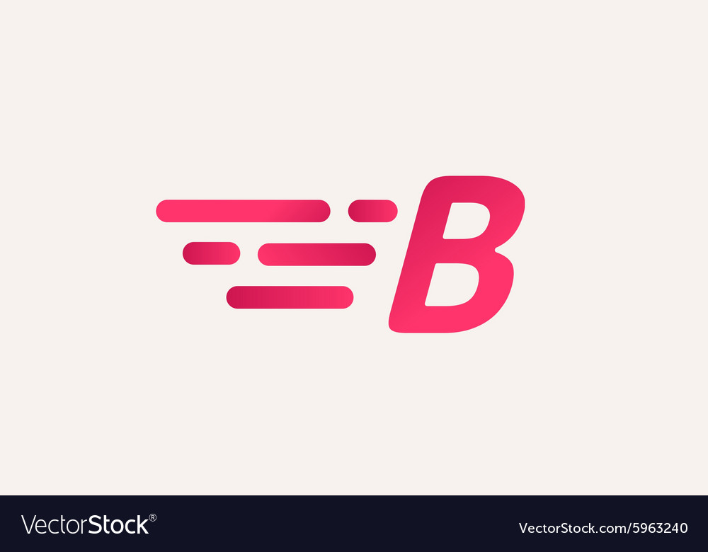 Fast line logo b monogram icon vector