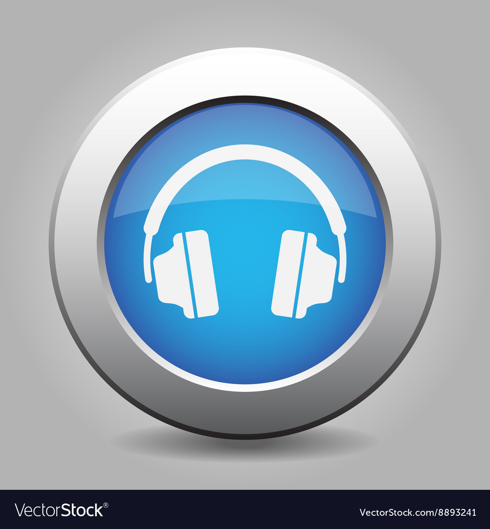 Blue metal button with headphones vector