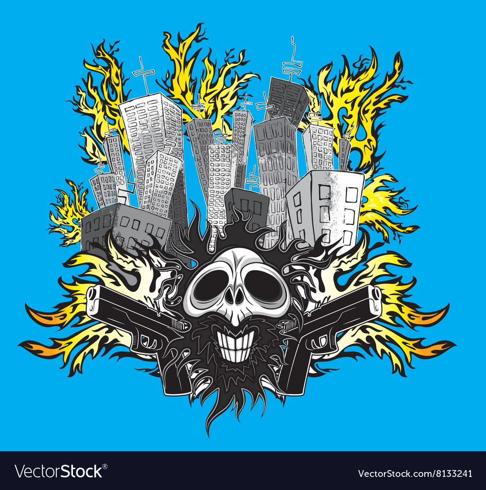 Smiling skull with guns and city buildings in fire vector