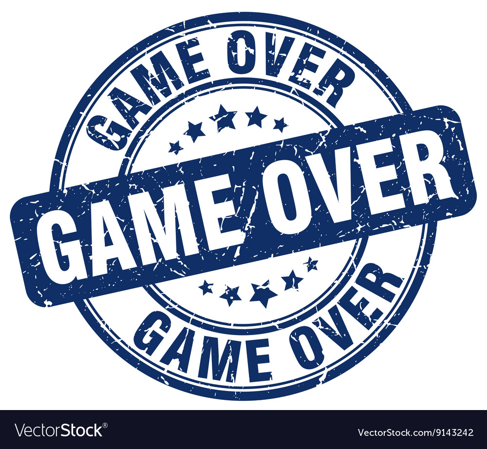 Game over blue grunge round vintage rubber stamp vector