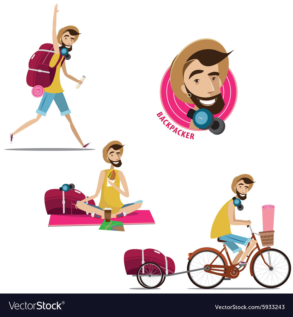 Set of backpackers vector