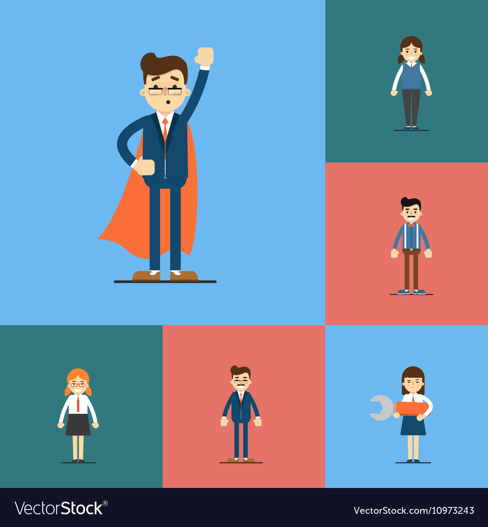 Smiling people cartoon characters set vector