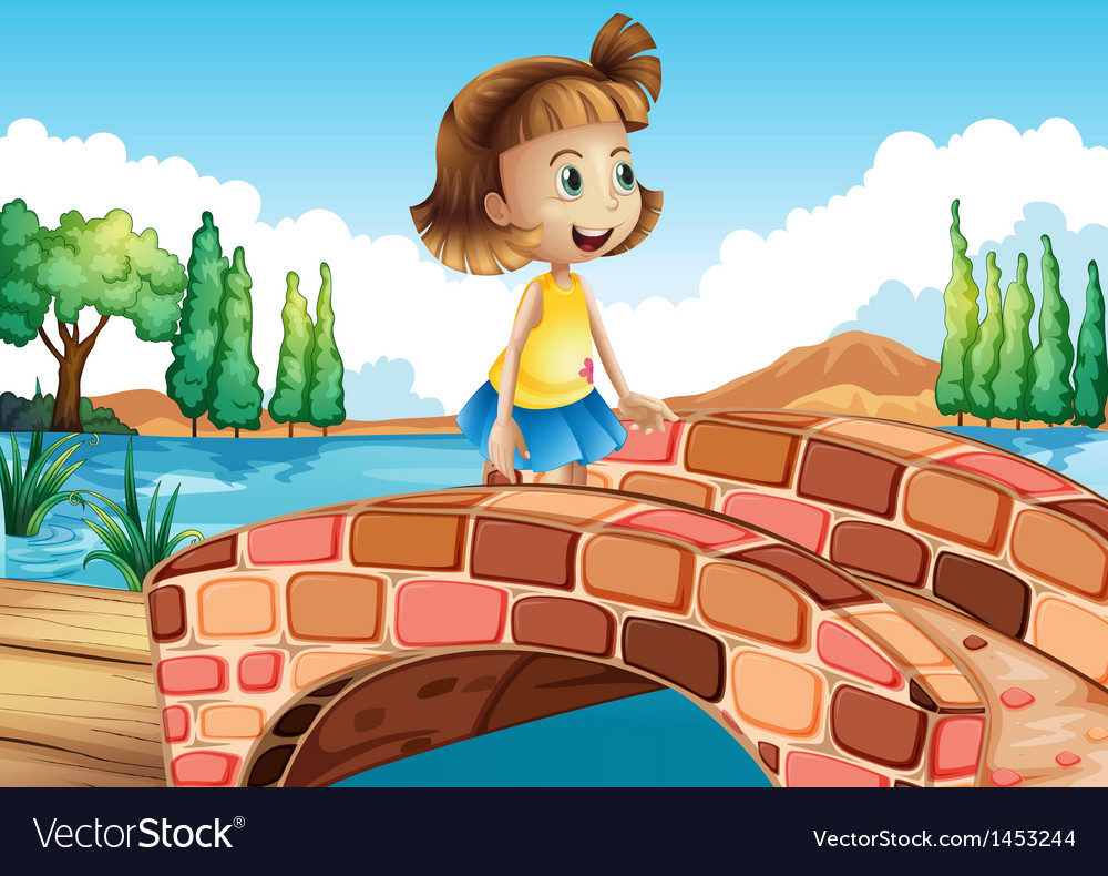 A little girl crossing the bridge vector