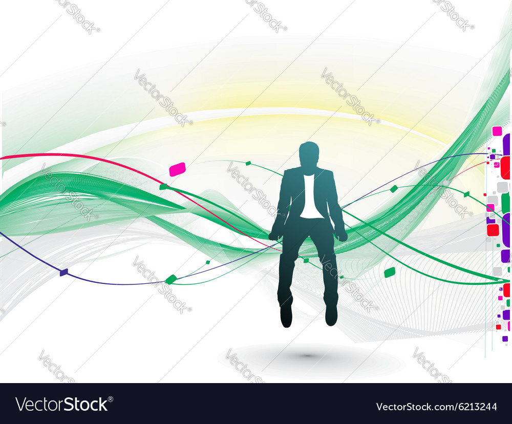 Businessman sitting in the wave line vector