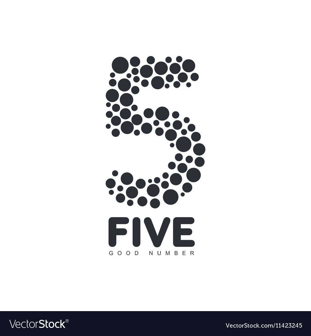 Black and white number five logo template made of vector