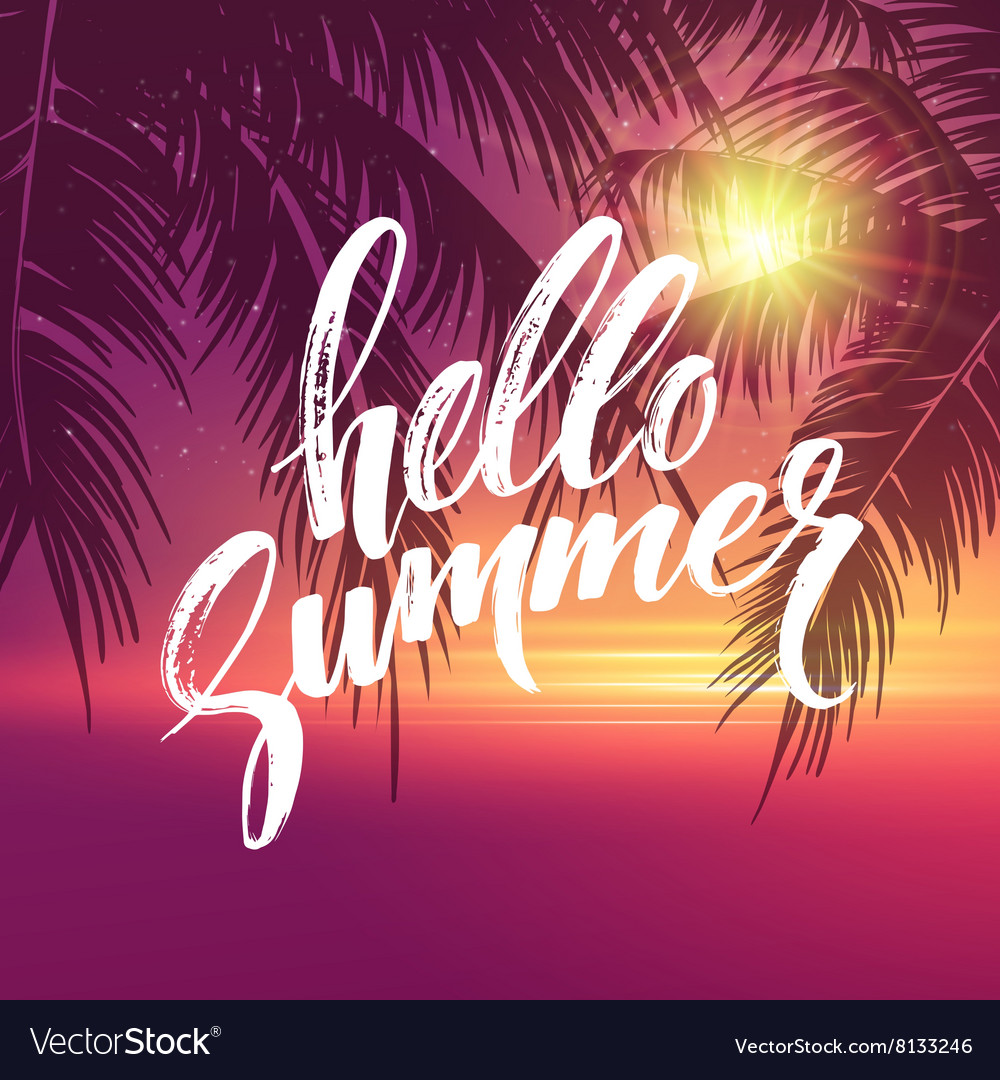 Hello summer background tropical palm leaves vector