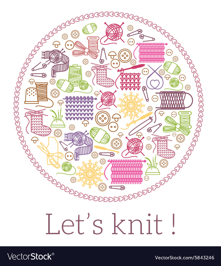 Lets knit knitting and needlework sign vector