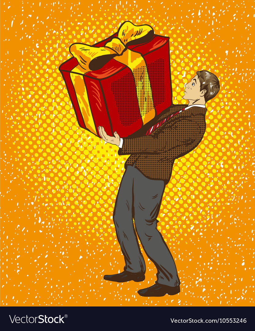 Man holds big gift box in vector